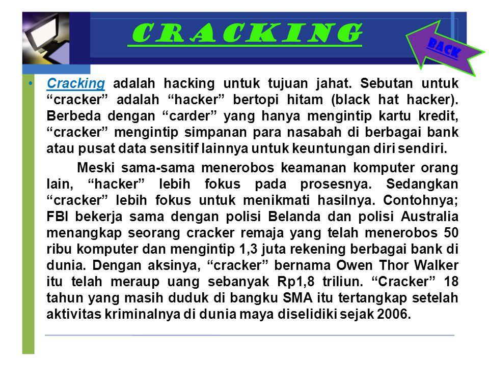 """CRACKING Cracking adalah hacking untuk tujuan jahat. Sebutan untuk """"cracker"""" adalah """"hacker"""" bertopi hitam (black hat hacker). Berbeda dengan """"carder"""""""