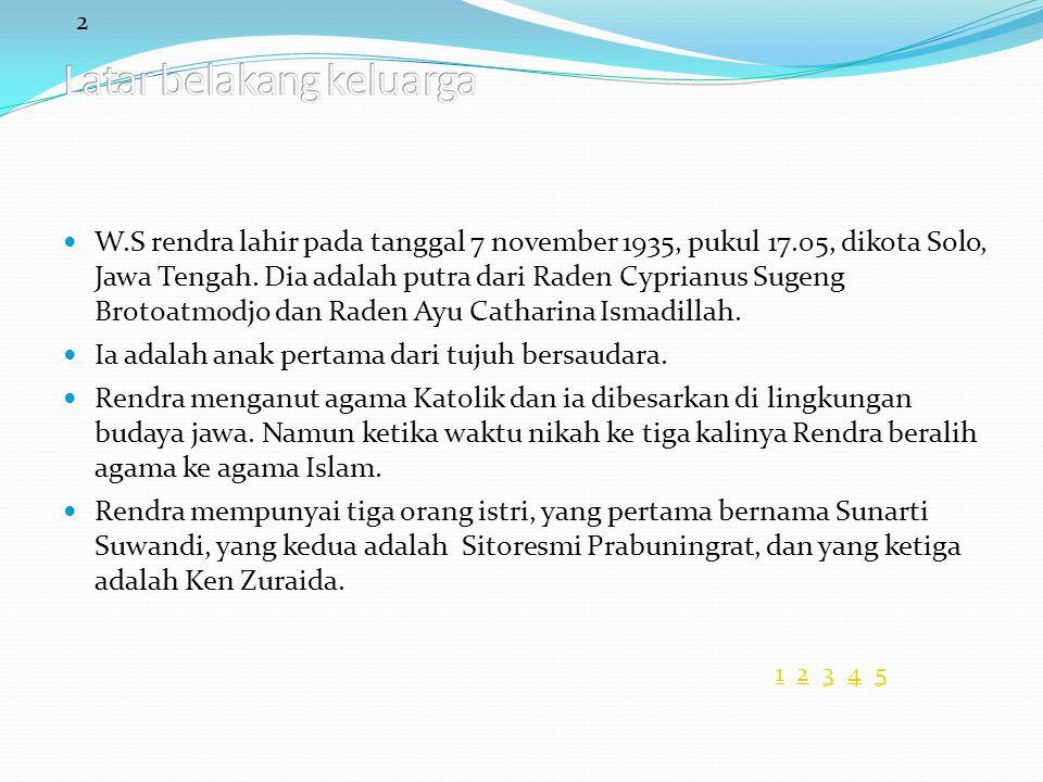 2 11 2 3 4 52345 W.S rendra lahir pada tanggal 7 november 1935, pukul 17.05, dikota Solo, Jawa Tengah. Dia adalah putra dari Raden Cyprianus Sugeng Br