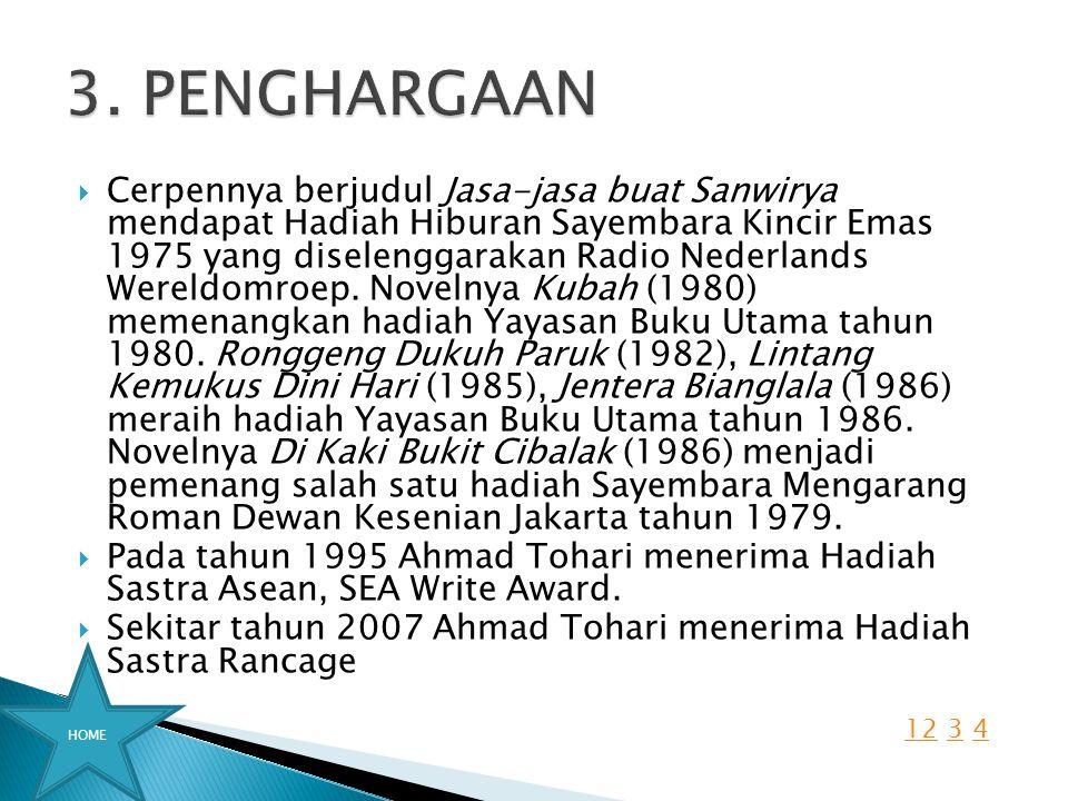  Cerpennya berjudul Jasa-jasa buat Sanwirya mendapat Hadiah Hiburan Sayembara Kincir Emas 1975 yang diselenggarakan Radio Nederlands Wereldomroep. No