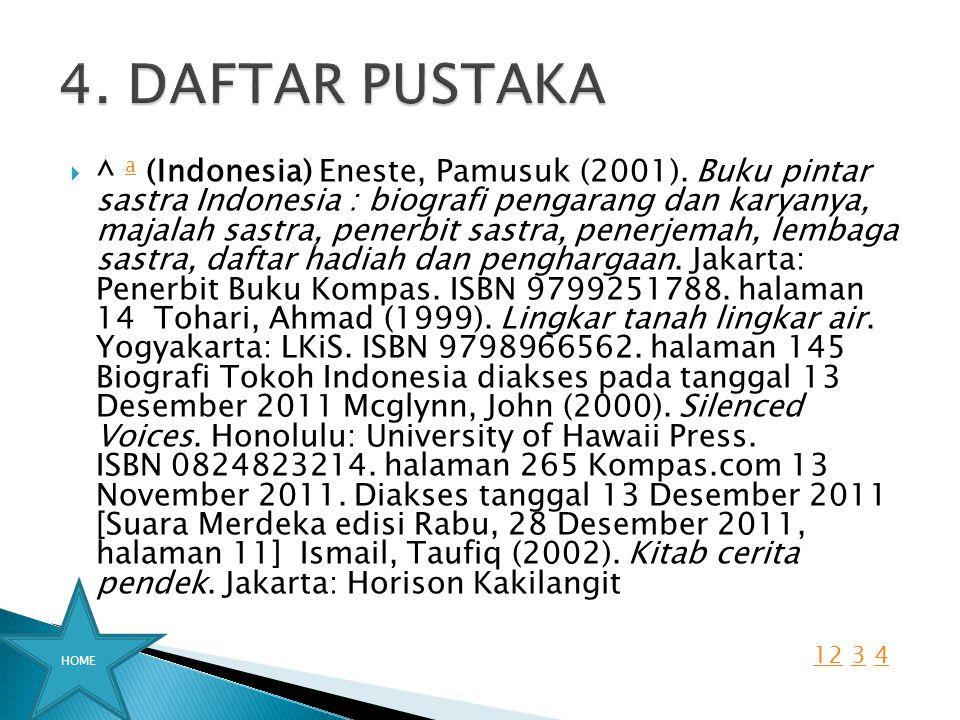  ^ a (Indonesia) Eneste, Pamusuk (2001). Buku pintar sastra Indonesia : biografi pengarang dan karyanya, majalah sastra, penerbit sastra, penerjemah,