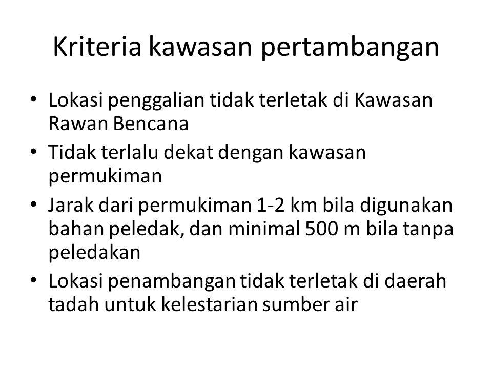 Kriteria kawasan pertambangan Lokasi penggalian tidak terletak di Kawasan Rawan Bencana Tidak terlalu dekat dengan kawasan permukiman Jarak dari permu