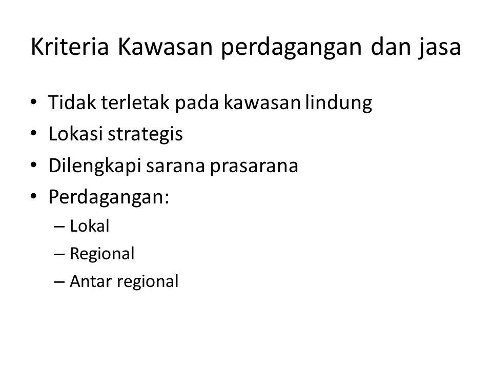 Kriteria Kawasan perdagangan dan jasa Tidak terletak pada kawasan lindung Lokasi strategis Dilengkapi sarana prasarana Perdagangan: – Lokal – Regional