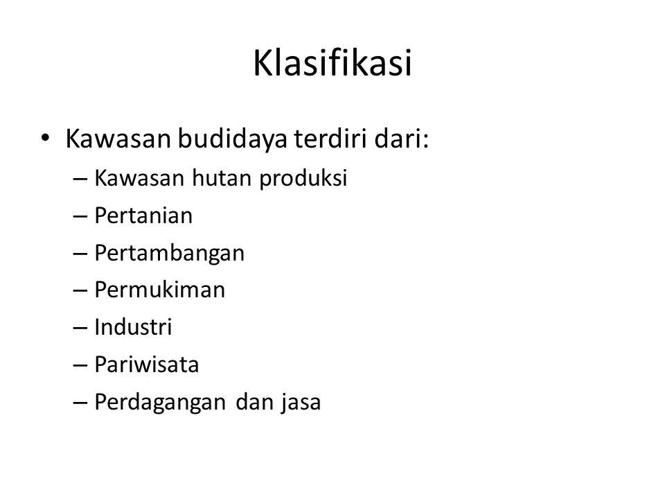 Klasifikasi Kawasan budidaya terdiri dari: – Kawasan hutan produksi – Pertanian – Pertambangan – Permukiman – Industri – Pariwisata – Perdagangan dan