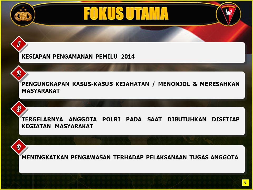 Satuan Brimob Polda Jawa Barat Jalan Kolonel Achmad Syam No.17/A Jatinangor – Sumedang (Tel / fax : 022 779 578 7) KESIAPAN SELURUH KOMPONEN BANGSA DALAM MELAKSANAKAN PEMILU TAHUN 2014 MELALUI PERAN : 1.PERPOLISIAN MASYARAKAT BRIMOB; 2.PENGGALANGAN INTELIJEN; 3.MAPPING ATAU PEMETAAN TERHADAP PROFIL MASYARAKAT, POTENSI DUKUNGAN, POTENSI GANGGUAN DAN POLA PENGAMANAN YANG AKAN DIGUNAKAN SEBAGAI PENILAIAN SITUASI GUNA MERANCANG STRATEGI PENGAMANAN PEMILU TAHUN 2014.