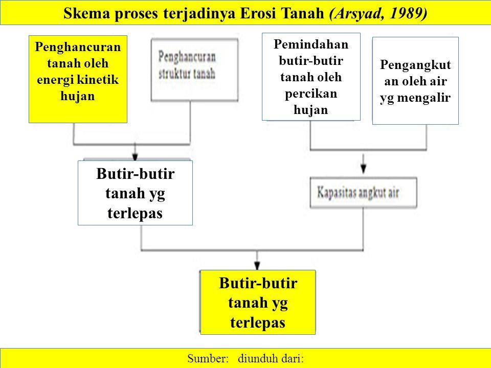 Sumber: diunduh dari: Skema proses terjadinya Erosi Tanah (Arsyad, 1989) Butir-butir tanah yg terlepas Penghancuran tanah oleh energi kinetik hujan Pengangkut an oleh air yg mengalir Pemindahan butir-butir tanah oleh percikan hujan