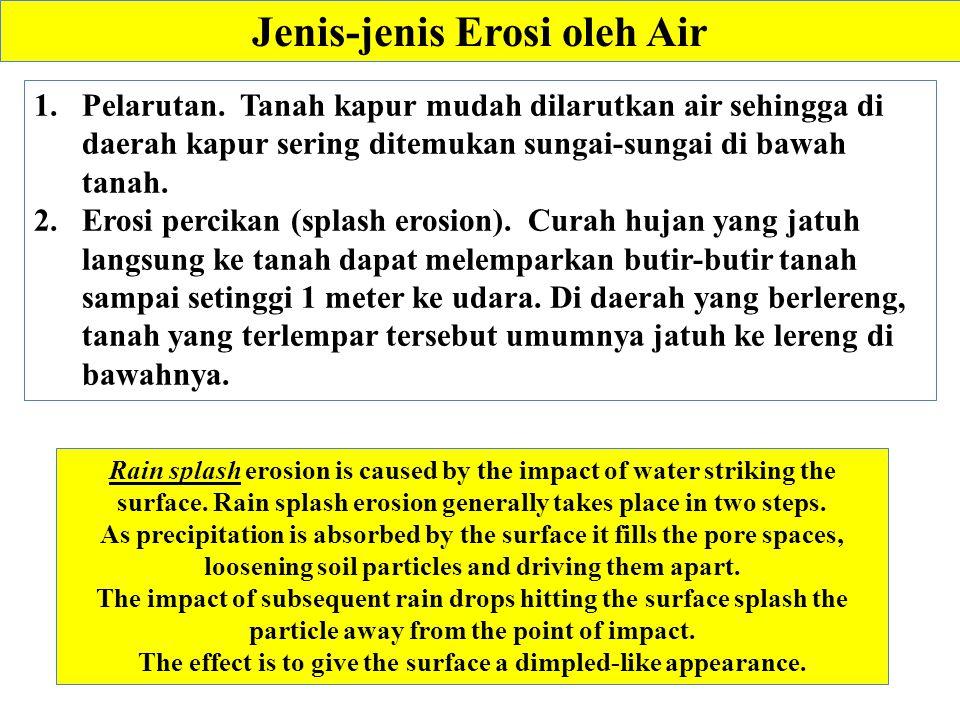 Jenis-jenis Erosi oleh Air Rain splash erosion is caused by the impact of water striking the surface.