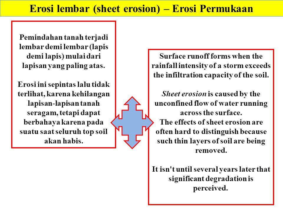 Erosi lembar (sheet erosion) – Erosi Permukaan Pemindahan tanah terjadi lembar demi lembar (lapis demi lapis) mulai dari lapisan yang paling atas.