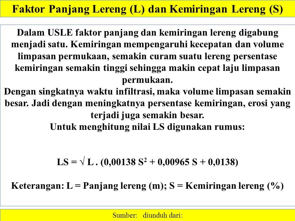 Faktor Panjang Lereng (L) dan Kemiringan Lereng (S) Sumber: diunduh dari: Dalam USLE faktor panjang dan kemiringan lereng digabung menjadi satu.