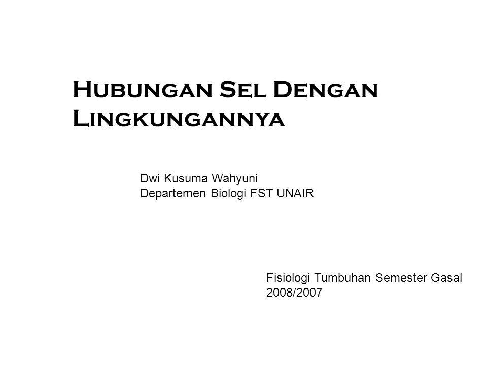 Hubungan Sel Dengan Lingkungannya Dwi Kusuma Wahyuni Departemen Biologi FST UNAIR Fisiologi Tumbuhan Semester Gasal 2008/2007