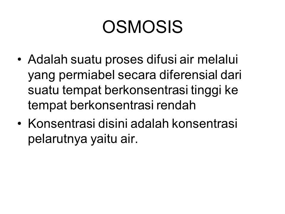 OSMOSIS Adalah suatu proses difusi air melalui yang permiabel secara diferensial dari suatu tempat berkonsentrasi tinggi ke tempat berkonsentrasi rend