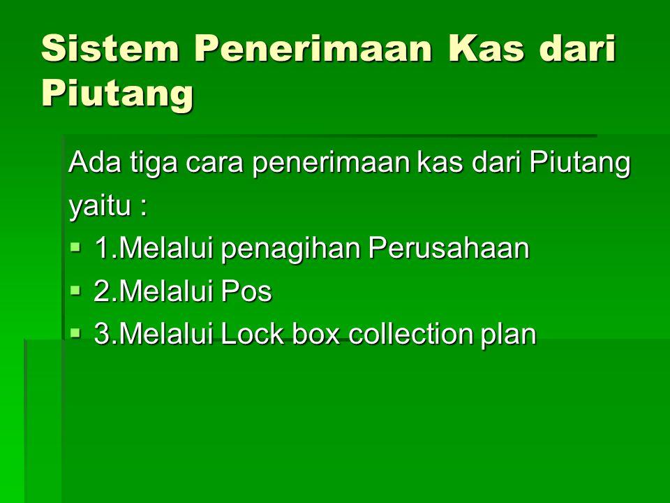 Sistem Penerimaan Kas dari Piutang Ada tiga cara penerimaan kas dari Piutang yaitu :  1.Melalui penagihan Perusahaan  2.Melalui Pos  3.Melalui Lock