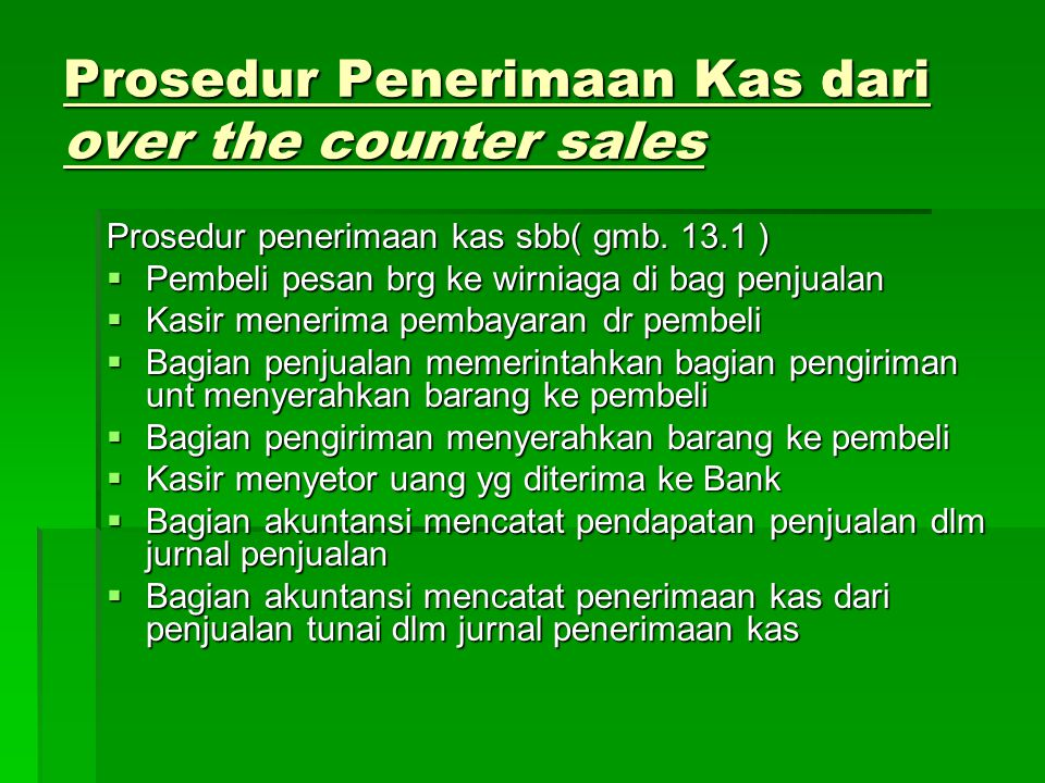  Bagan Alir Dokumen Sistem Penerimaan Kas dari Over the Counter Sale ( gmb.