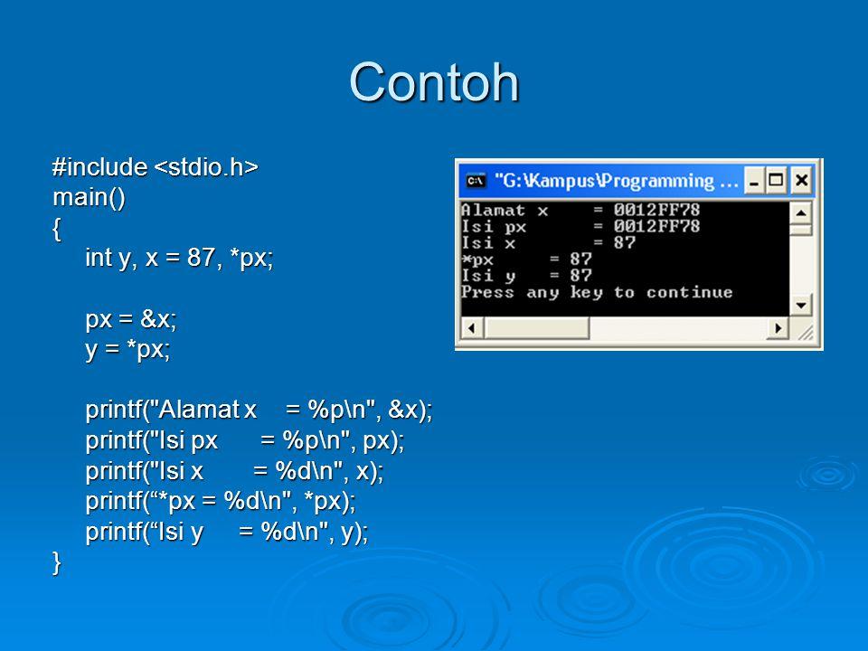 Contoh #include #include main(){ int y, x = 87, *px; int y, x = 87, *px; px = &x; y = *px; y = *px; printf( Alamat x = %p\n , &x); printf( Isi px = %p\n , px); printf( Isi x = %d\n , x); printf( *px = %d\n , *px); printf( Isi y = %d\n , y); }