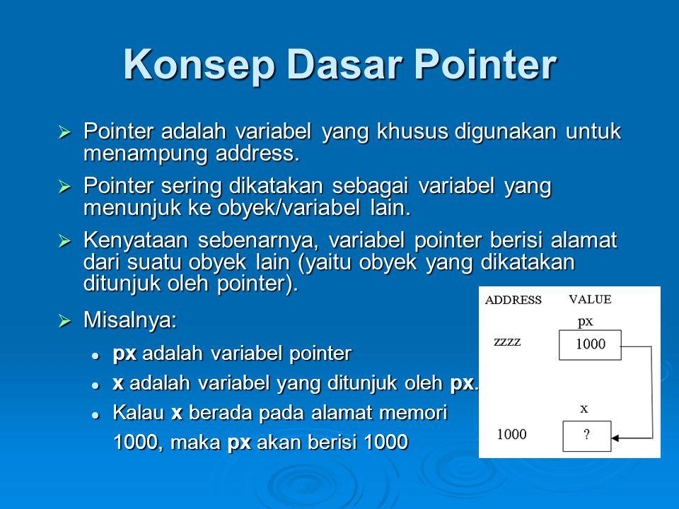 Deklarasi Variabel Pointer  Pointer dideklarasikan dengan bentuk sbb: tipe_data *nama_variabel;  tipe_data dapat berupa sembarang tipe yang sudah dibahas pada bab-bab sebelumnya, maupun bab-bab berikutnya.