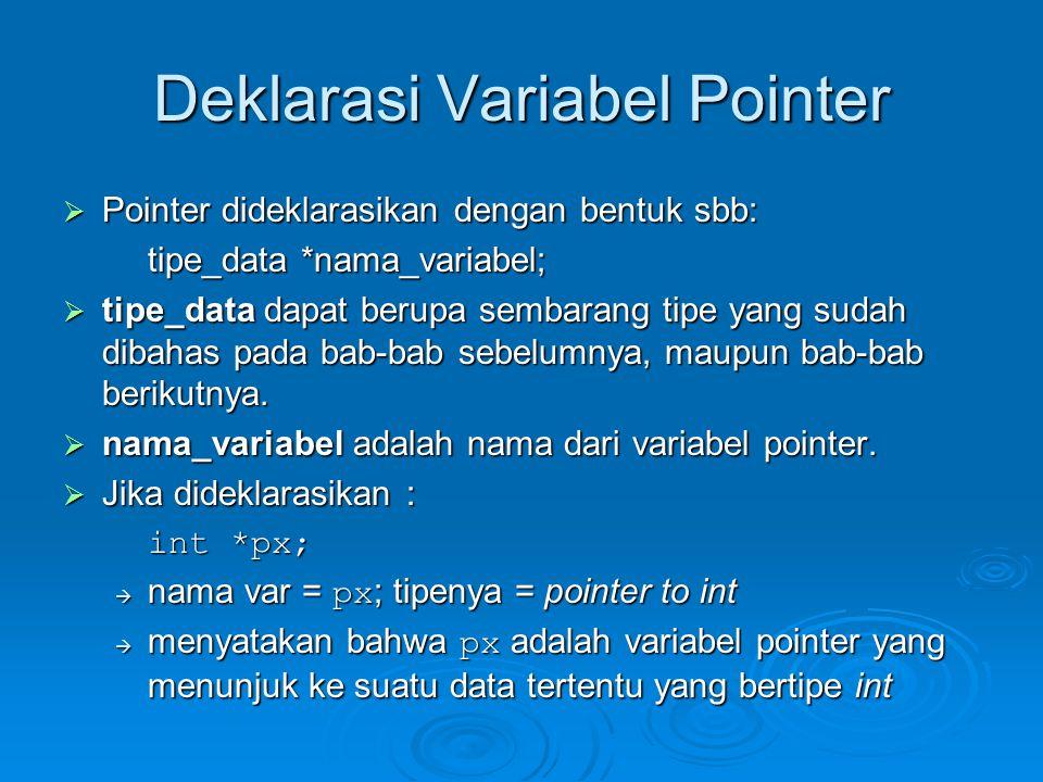 Deklarasi Variabel Pointer  Pointer dideklarasikan dengan bentuk sbb: tipe_data *nama_variabel;  tipe_data dapat berupa sembarang tipe yang sudah di
