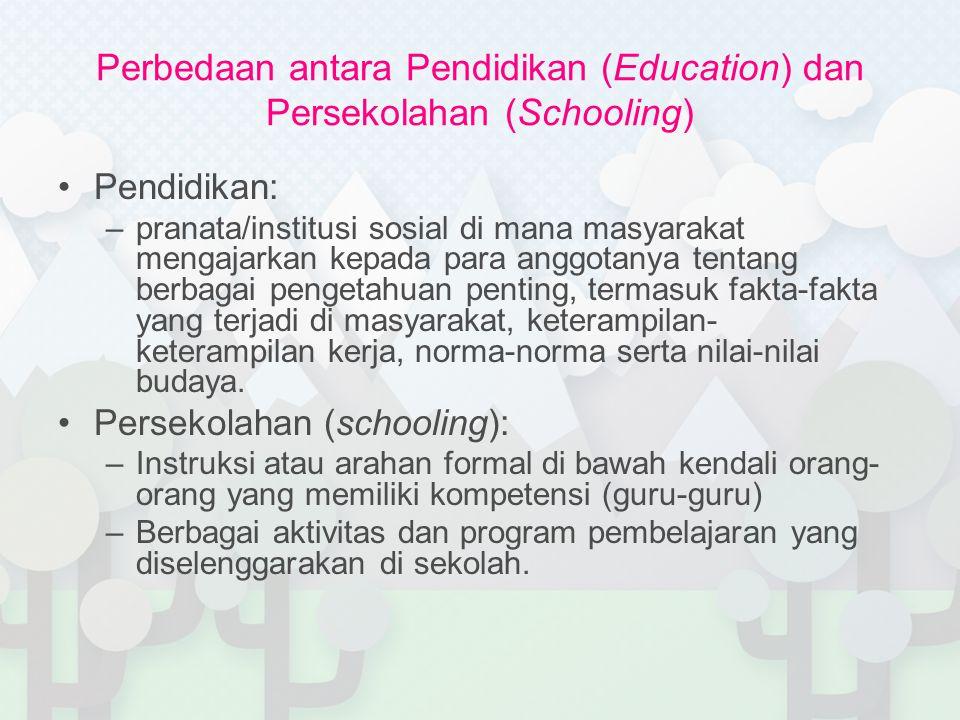 Perbedaan antara Pendidikan (Education) dan Persekolahan (Schooling) Pendidikan: –pranata/institusi sosial di mana masyarakat mengajarkan kepada para