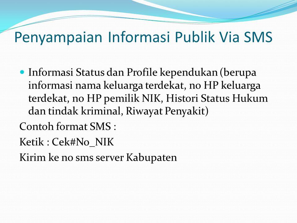 Penyampaian Informasi Publik Via SMS Informasi Status dan Profile kependukan (berupa informasi nama keluarga terdekat, no HP keluarga terdekat, no HP