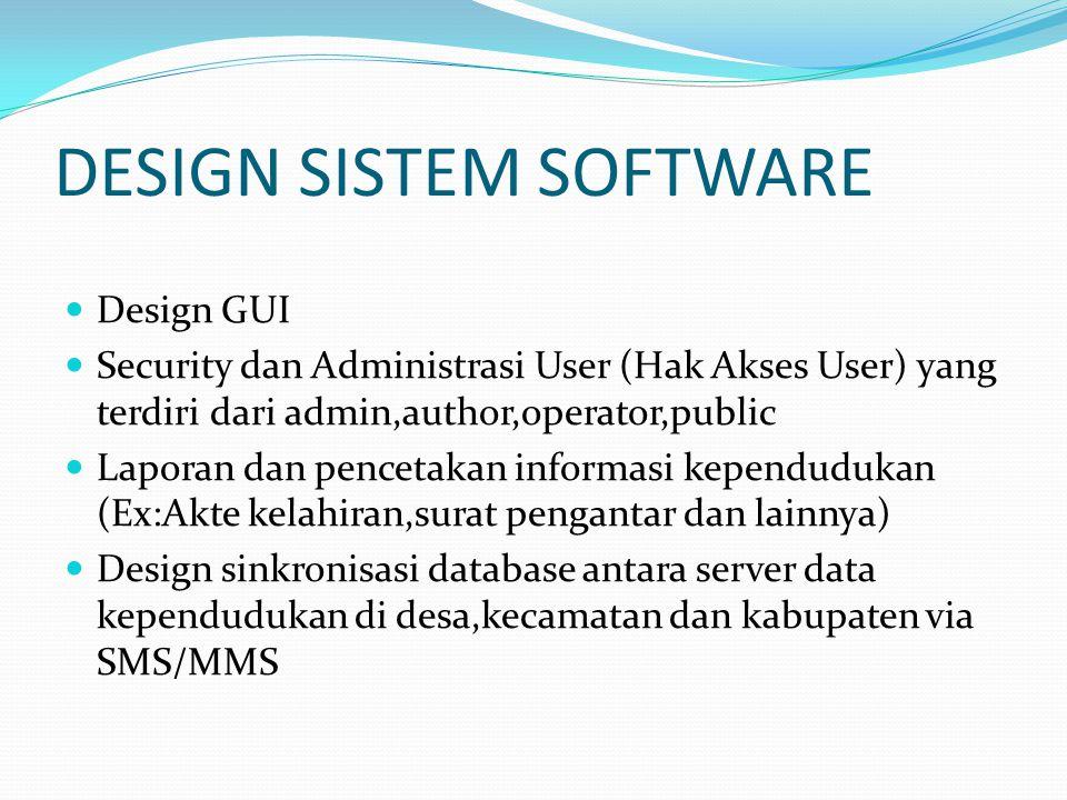 DESIGN SISTEM SOFTWARE Design GUI Security dan Administrasi User (Hak Akses User) yang terdiri dari admin,author,operator,public Laporan dan pencetaka