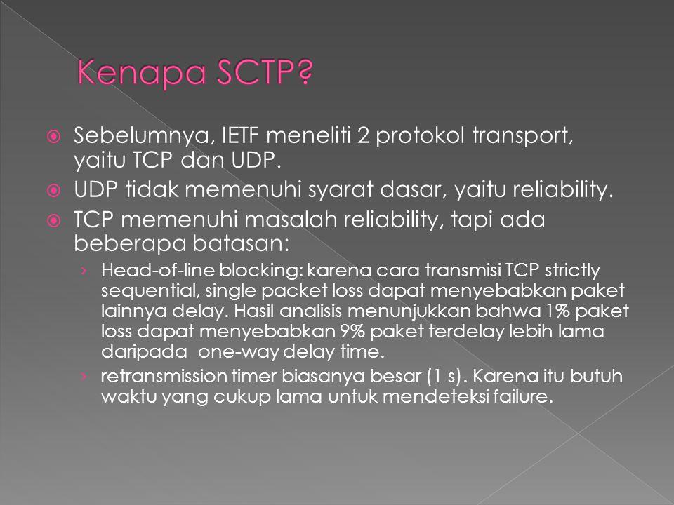  Sebelumnya, IETF meneliti 2 protokol transport, yaitu TCP dan UDP.  UDP tidak memenuhi syarat dasar, yaitu reliability.  TCP memenuhi masalah reli