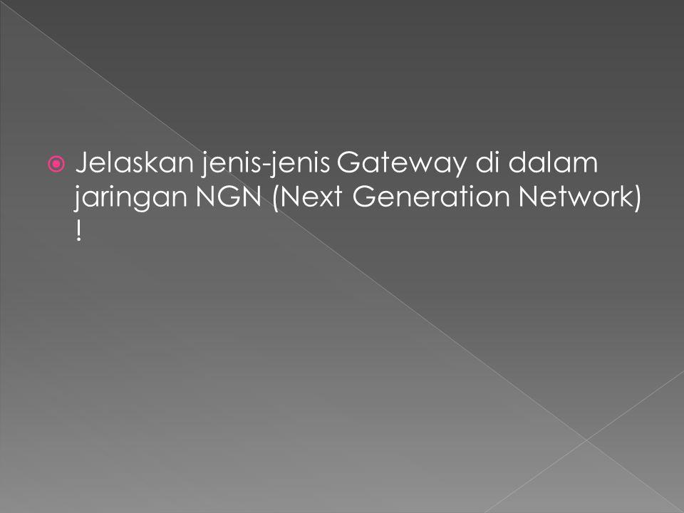  Jelaskan jenis-jenis Gateway di dalam jaringan NGN (Next Generation Network) !