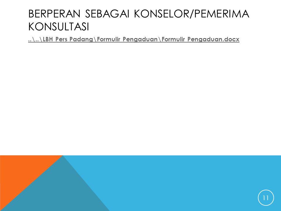 BERPERAN SEBAGAI KONSELOR/PEMERIMA KONSULTASI..\..\LBH Pers Padang\Formulir Pengaduan\Formulir Pengaduan.docx 11
