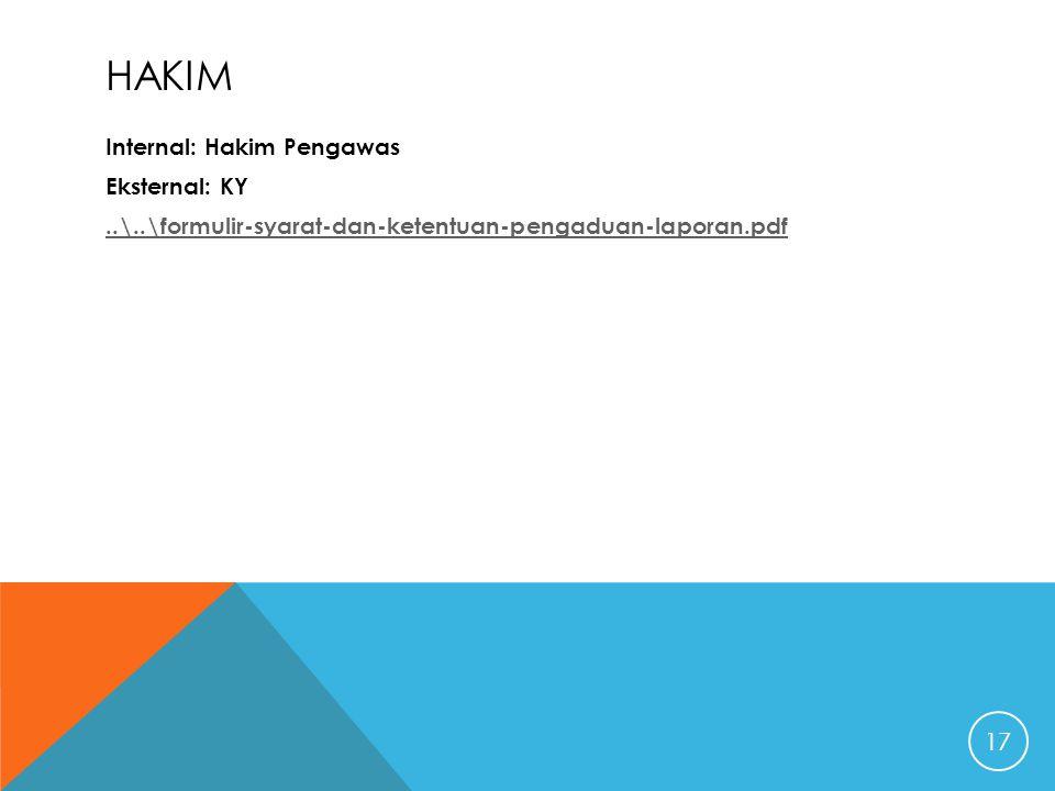 HAKIM Internal: Hakim Pengawas Eksternal: KY..\..\formulir-syarat-dan-ketentuan-pengaduan-laporan.pdf 17