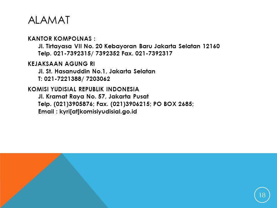 ALAMAT KANTOR KOMPOLNAS : Jl. Tirtayasa VII No. 20 Kebayoran Baru Jakarta Selatan 12160 Telp. 021-7392315/ 7392352 Fax. 021-7392317 KEJAKSAAN AGUNG RI