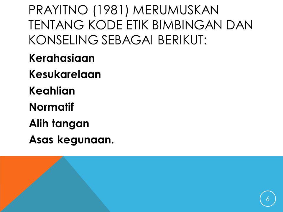PRAYITNO (1981) MERUMUSKAN TENTANG KODE ETIK BIMBINGAN DAN KONSELING SEBAGAI BERIKUT: Kerahasiaan Kesukarelaan Keahlian Normatif Alih tangan Asas kegu