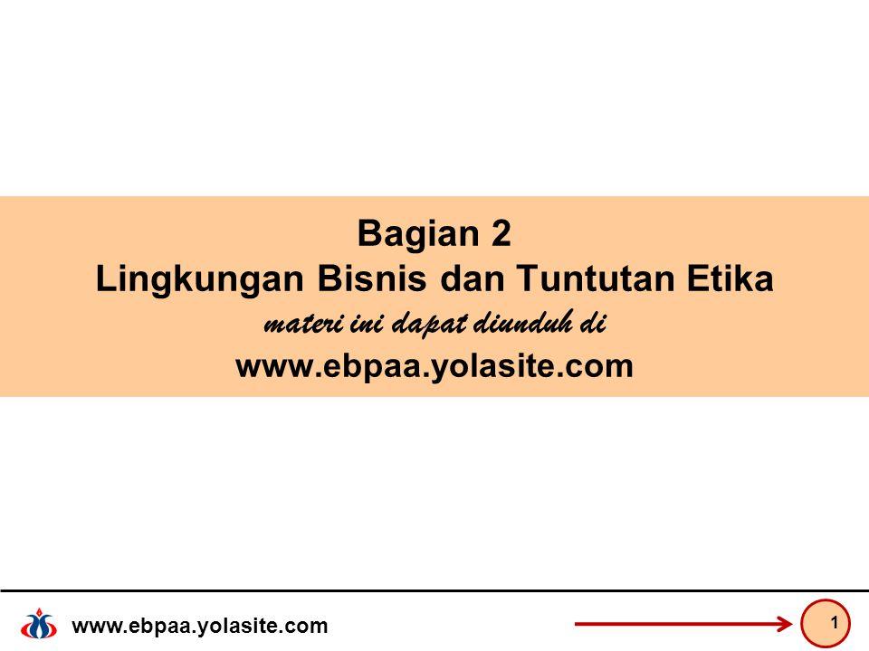 www.ebpaa.yolasite.com Bagian 2 Lingkungan Bisnis dan Tuntutan Etika materi ini dapat diunduh di www.ebpaa.yolasite.com 1