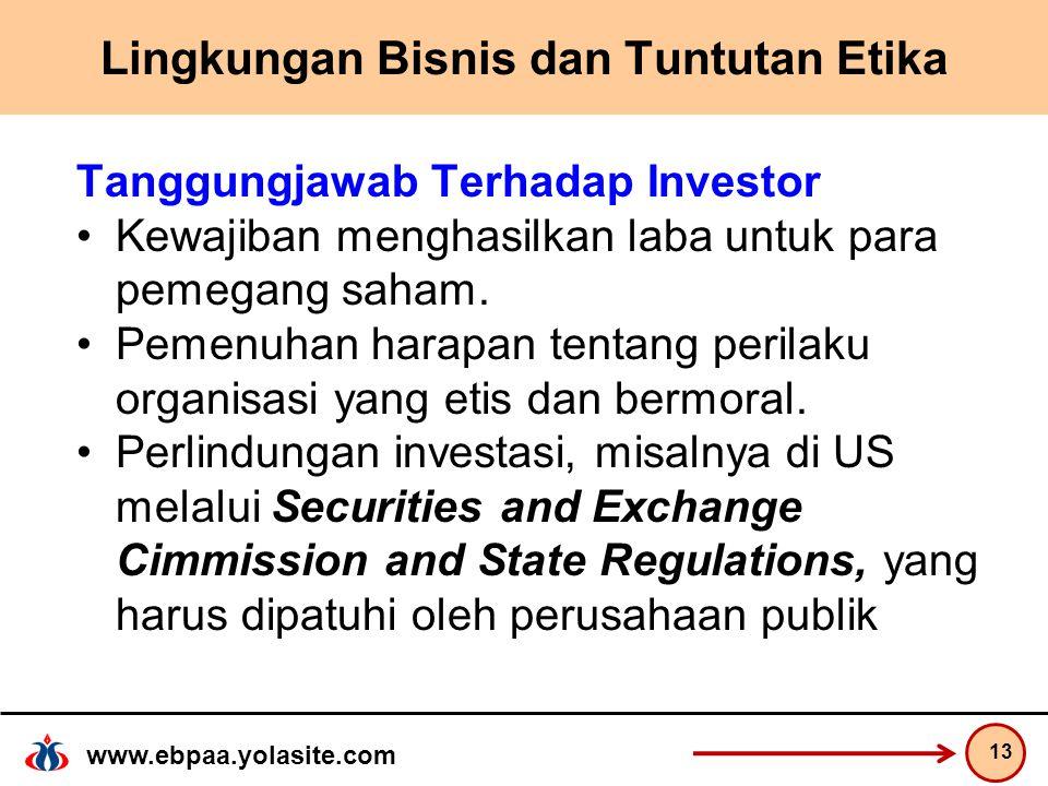 www.ebpaa.yolasite.com Lingkungan Bisnis dan Tuntutan Etika Tanggungjawab Terhadap Investor Kewajiban menghasilkan laba untuk para pemegang saham.