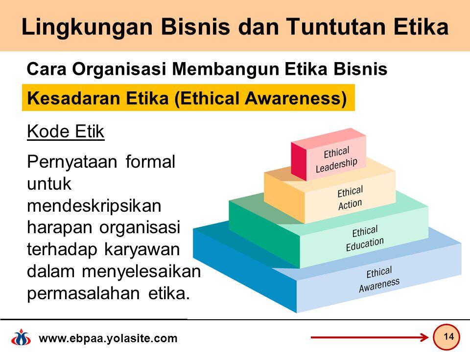 www.ebpaa.yolasite.com Lingkungan Bisnis dan Tuntutan Etika 14 Cara Organisasi Membangun Etika Bisnis Kode Etik Pernyataan formal untuk mendeskripsikan harapan organisasi terhadap karyawan dalam menyelesaikan permasalahan etika.