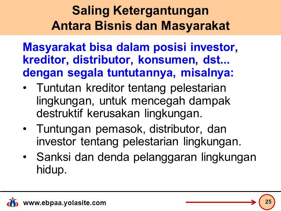 www.ebpaa.yolasite.com Saling Ketergantungan Antara Bisnis dan Masyarakat Masyarakat bisa dalam posisi investor, kreditor, distributor, konsumen, dst...