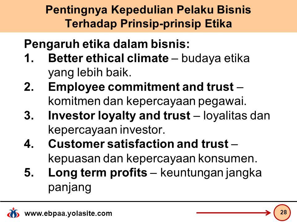 www.ebpaa.yolasite.com Pentingnya Kepedulian Pelaku Bisnis Terhadap Prinsip-prinsip Etika Pengaruh etika dalam bisnis: 1.Better ethical climate – budaya etika yang lebih baik.