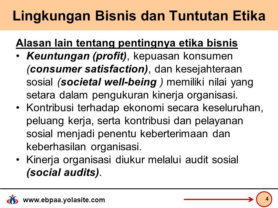 www.ebpaa.yolasite.com Lingkungan Bisnis dan Tuntutan Etika Alasan lain tentang pentingnya etika bisnis Keuntungan (profit), kepuasan konsumen (consumer satisfaction), dan kesejahteraan sosial (societal well-being ) memiliki nilai yang setara dalam pengukuran kinerja organisasi.