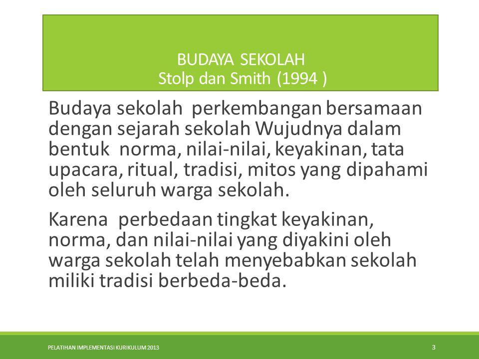 PELATIHAN IMPLEMENTASI KURIKULUM 2013 3 BUDAYA SEKOLAH Stolp dan Smith (1994 ) Budaya sekolah perkembangan bersamaan dengan sejarah sekolah Wujudnya dalam bentuk norma, nilai-nilai, keyakinan, tata upacara, ritual, tradisi, mitos yang dipahami oleh seluruh warga sekolah.