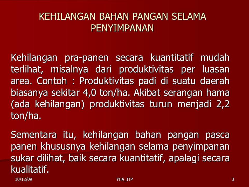 YHA_ITP14 JENIS-JENIS KEHILANGAN BAHAN PANGAN SELAMA PENYIMPANAN (Lanjutan) 4.Kehilangan Benih  Penyimpanan yang dilakukan dengan cara yang tidak baik dapat menimbulkan kehilangan benih.