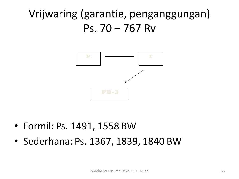 Vrijwaring (garantie, penganggungan) Ps. 70 – 767 Rv Formil: Ps. 1491, 1558 BW Sederhana: Ps. 1367, 1839, 1840 BW PT PH-3 33Amelia Sri Kusuma Dewi, S.
