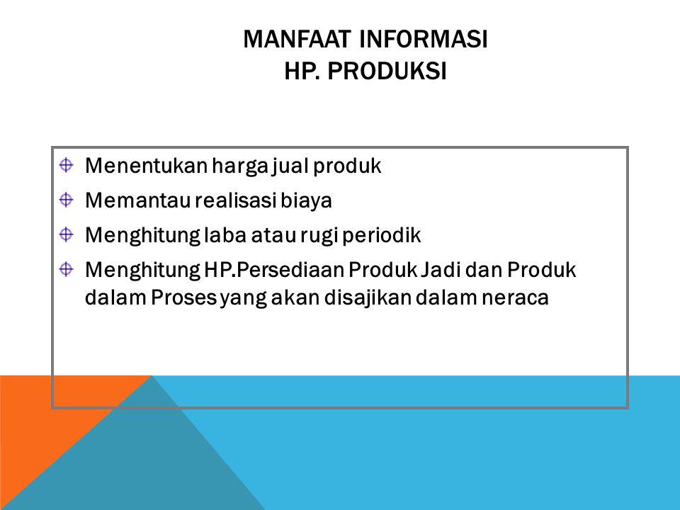 MANFAAT INFORMASI HP. PRODUKSI Menentukan harga jual produk Memantau realisasi biaya Menghitung laba atau rugi periodik Menghitung HP.Persediaan Produ
