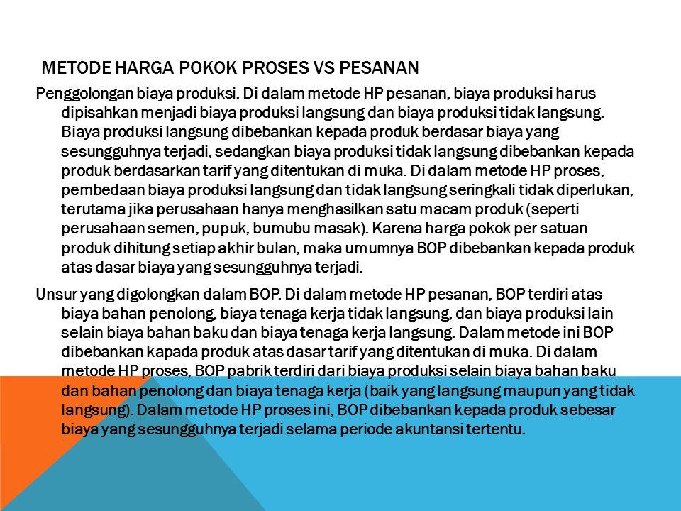 METODE HARGA POKOK PROSES VS PESANAN Penggolongan biaya produksi. Di dalam metode HP pesanan, biaya produksi harus dipisahkan menjadi biaya produksi l