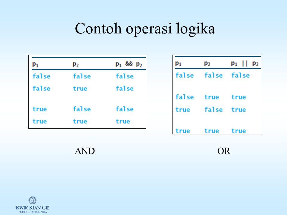 Operator Logika Operator logika pada java adalah sebagai berikut Untuk menguji hasil operasi logika, dapat digunakan tabel kebenaran