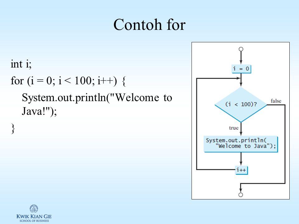 Loop for Loop for digunakan untuk proses berulang selama kondisi terpenuhi. Loop for adalah loop yang paling ringkas syntaxnya. Syntax: for (initial-a