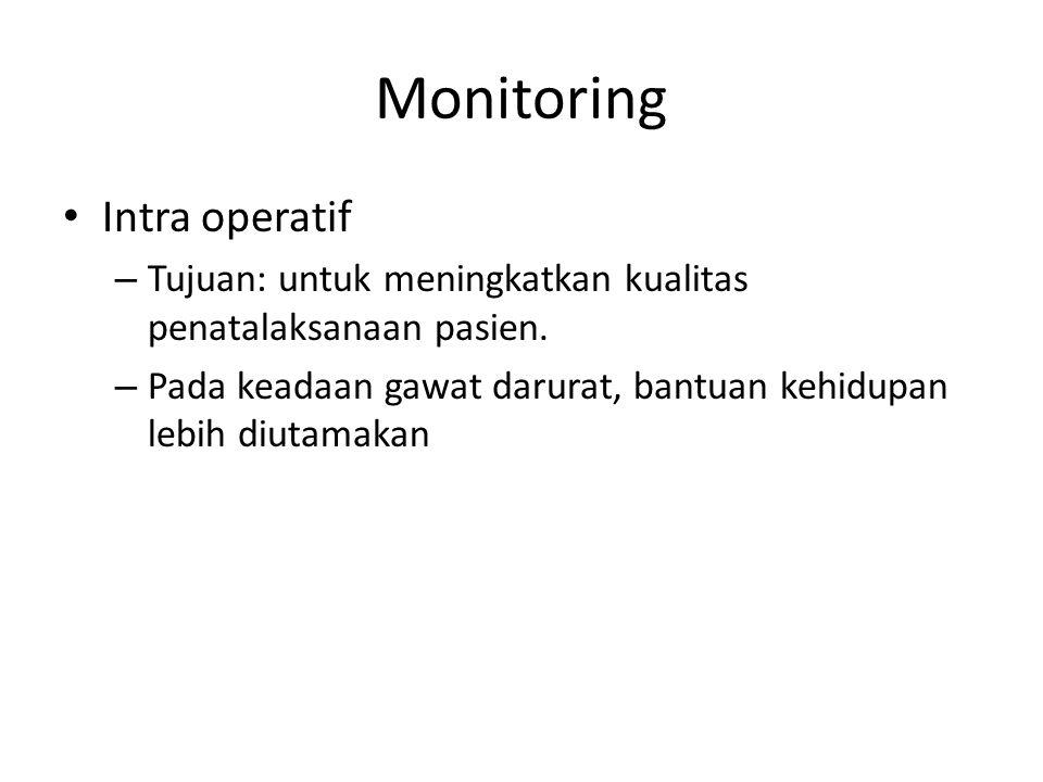 Monitoring Intra operatif – Tujuan: untuk meningkatkan kualitas penatalaksanaan pasien. – Pada keadaan gawat darurat, bantuan kehidupan lebih diutamak