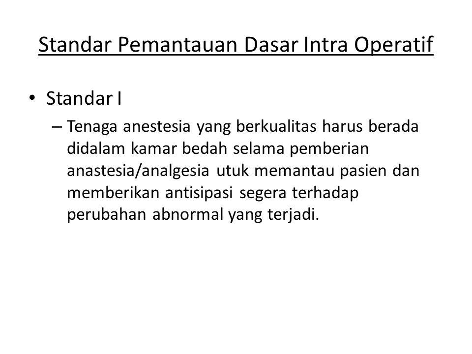 Standar Pemantauan Dasar Intra Operatif Standar I – Tenaga anestesia yang berkualitas harus berada didalam kamar bedah selama pemberian anastesia/anal