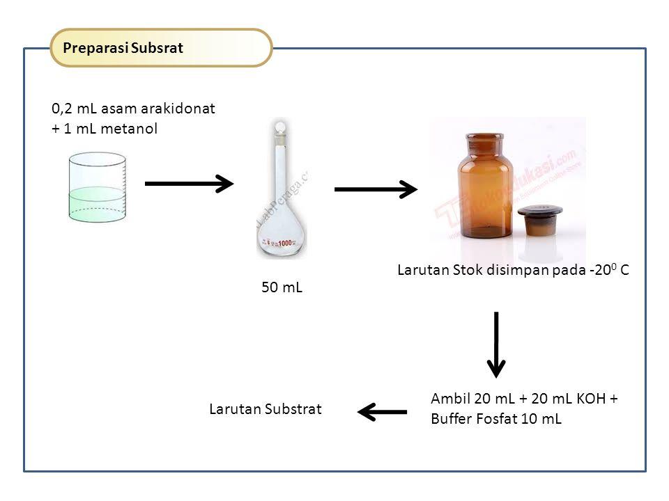 Pengukuran Aktivitas Enzim Blanko 0,95 ml PBS 0,1M pH 7,4 50 µL DMSO Ukur pada 234 nm selama 2-3 menit