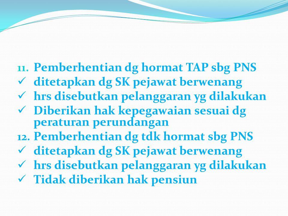 11. Pemberhentian dg hormat TAP sbg PNS ditetapkan dg SK pejawat berwenang hrs disebutkan pelanggaran yg dilakukan Diberikan hak kepegawaian sesuai dg