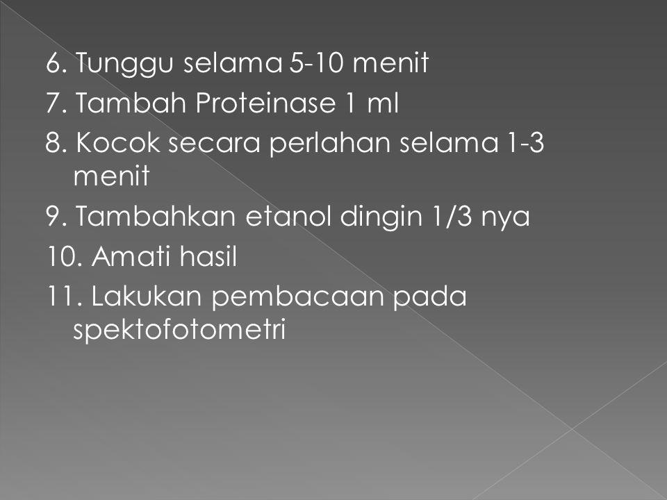 6.Tunggu selama 5-10 menit 7. Tambah Proteinase 1 ml 8.