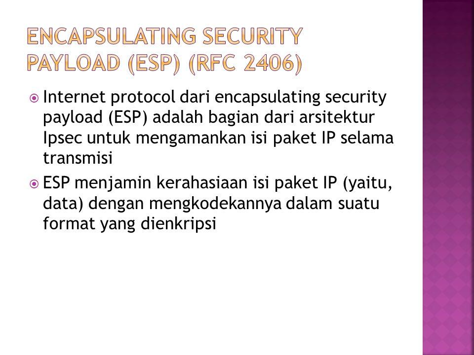  Internet protocol dari encapsulating security payload (ESP) adalah bagian dari arsitektur Ipsec untuk mengamankan isi paket IP selama transmisi  ESP menjamin kerahasiaan isi paket IP (yaitu, data) dengan mengkodekannya dalam suatu format yang dienkripsi