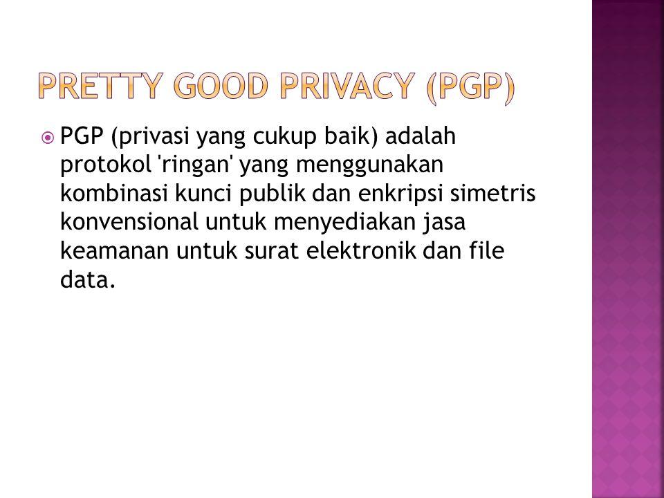  PGP (privasi yang cukup baik) adalah protokol ringan yang menggunakan kombinasi kunci publik dan enkripsi simetris konvensional untuk menyediakan jasa keamanan untuk surat elektronik dan file data.