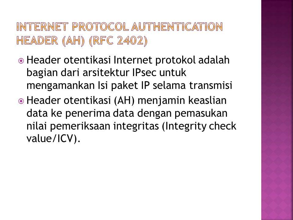  Header otentikasi Internet protokol adalah bagian dari arsitektur IPsec untuk mengamankan Isi paket IP selama transmisi  Header otentikasi (AH) menjamin keaslian data ke penerima data dengan pemasukan nilai pemeriksaan integritas (Integrity check value/ICV).