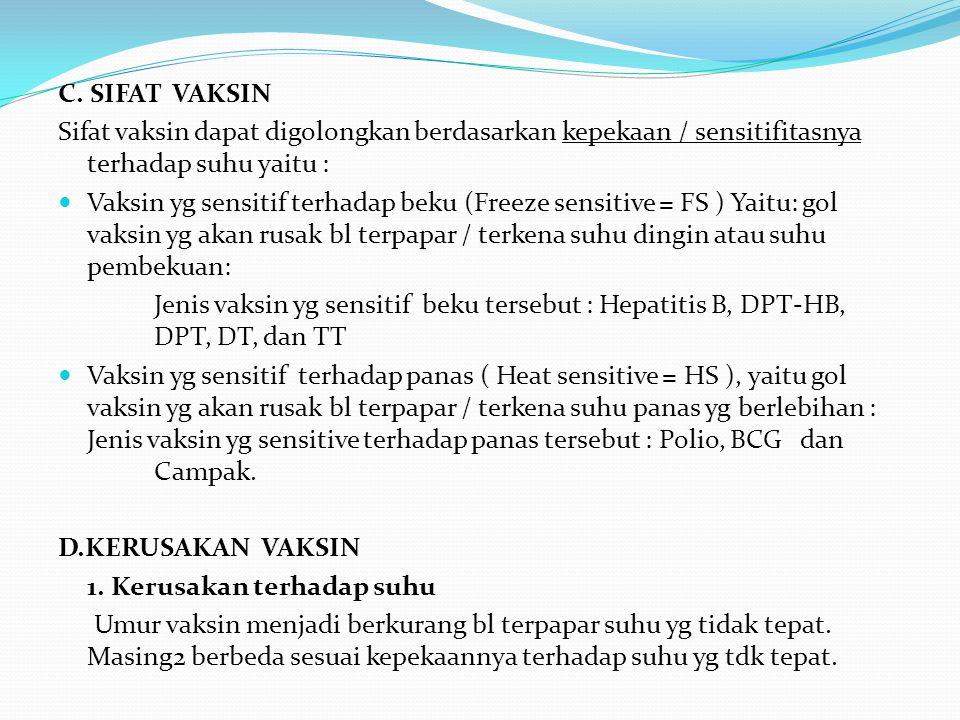C. SIFAT VAKSIN Sifat vaksin dapat digolongkan berdasarkan kepekaan / sensitifitasnya terhadap suhu yaitu : Vaksin yg sensitif terhadap beku (Freeze s